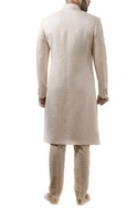 Ivory pearl embellished sherwani with trousers