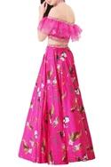 Hot pink modal satin lehenga set