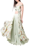 Pista green georgette & crepe printed top with palazzos