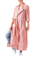 Pale pink tie up trench jacket