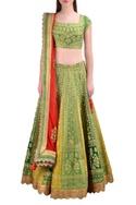 Green raw silk zari embroidered lehenga set