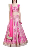 Pink gota embroidered lehenga set by Shyam Narayan Prasad