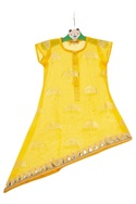 Multicolored floral gown with yellow asymmetric tunic