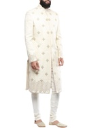 Cream linen silk hand embroidered sherwani with churidar