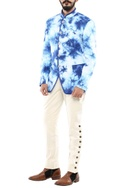 Dark blue marble print jodhpuri jacket