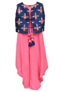 Candy pink satin georgette crop top & dhoti with embroidered jacket