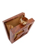 Teak brown wooden square box clutch