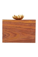 Teak brown wooden rectangle box clutch