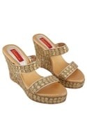 Gold gota embroidered & pearl 4.5-inch wedges