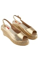 Gold peep-toe wedges with bead tassels