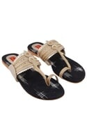 Beige & black gold detail kolhapuri sandals
