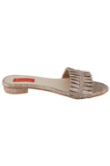 Grey pleated textured sandals