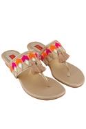 Beige tassel detail bohemian sandals.