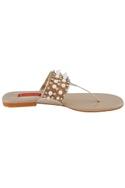 Beige moti stone embellished flat sandals