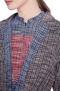 Blue & grey khadi cotton trench jacket