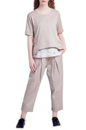 Beige recycled cotton casual fit pants