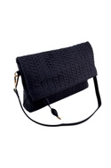 Navy blue cross weave fold-over clutch with detachable handle