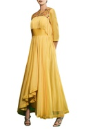 Tonic yellow chanderi & raw silk asymmetric gown with hand embroidered jacket