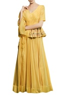 Tonic yellow chanderi hand embroidered peplum gown with hand embroidered belt