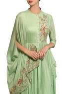 Spring green rayon moss & chanderi hand embroidered cape gown