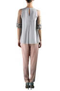 Grey viscose pin tuck & embellished blouse