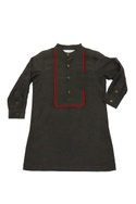 Military green cotton silk kurta with yoke and red trim detail & white top stitch pyjama