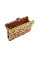 Gold plated floral motif evening clutch