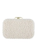 Ivory silk hand embroidered sling clutch