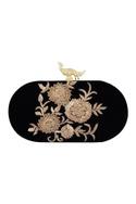 Black velvet hand embroidered sling clutch