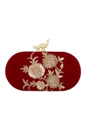 Wine velvet hand embroidered sling clutch