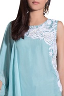 Blue flat chiffon & lycra hand embroidered kurta with churidar & attached dupatta