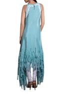 Blue crepe hand embroidered asymmetric kurta with white lycra churidar