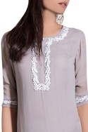 Grey georgette & crepe hand embroidered kurta with churidar