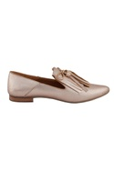 Cosmo gold leather tasseled ballerinas