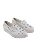 White synthetic eyelet shoes