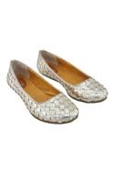 Silver synthetic weave ballerinas