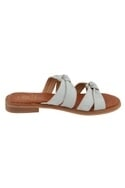 White leather knotted strap sandals