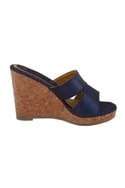 Navy blue synthetic & cork solid strap wedges