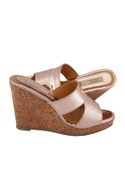 Rose pink synthetic & cork solid strap wedges