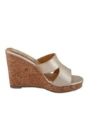 Silver synthetic & cork solid strap wedges