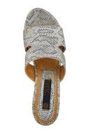White synthetic & cork snake skin design wedges