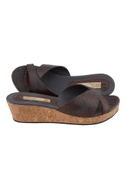 Brown synthetic & cork snake skin design wedges