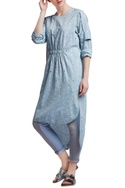 Blue cotton regular embroidered high-low tunic