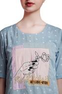 Blue & grey cotton regular patchwork & gathered blouse