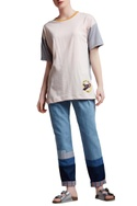 Peach & grey cotton regular slogan paneled blouse