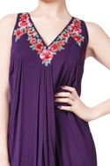 Purple sleeveless draped gown