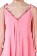 Pink ombre handmade crepe silk bugle bead jumpsuit