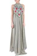 Sage green crepe silk & tussar georgette halter dress
