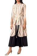 Ivory striped hand-woven high-low shirt with belt