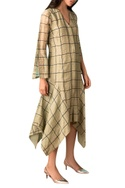 Sage green hand-woven chanderi zari asymmetric dress